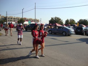 Tailgating - passers-by cheerleaders